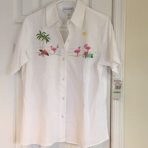 Alfred Dunner Pink Flamingos Button Up Shirt NWT